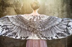 Women scarf, Hand painted Wings and feathers in cotton voile, stunning unique and useful, perfect gift