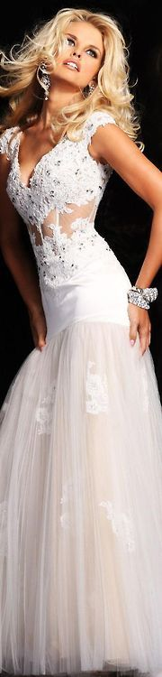 Sherry Hill, white gown