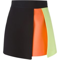 Fausto Puglisi Colour Block Skirt (£255) ❤ liked on Polyvore featuring skirts, bottoms, gonne, black, fausto puglisi, colorblock skirt, multicolor skirt, black knee length skirt and colorful skirts