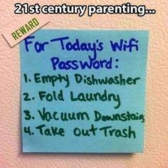 That's. Genius. Change the password everyday - they get it when their chores and homework are done. Of course, by the time I have kids and they have homework to do they'll be far smarter than me when it comes to technology. But one can dream...