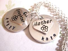 Mother Daughter Necklace Personalized Hand Stamped by CharmAccents, $25.00
