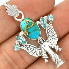 Angel - Copper Blue Turquoise 925 Sterling Silver Pendant Jewelry SP214676 | eBay
