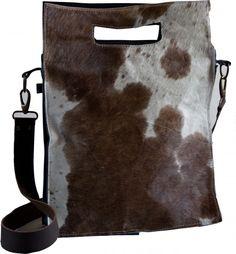 Hippe leren vachttas - tas met koehuid - | Tassen met vacht | Online tas kopen