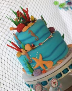 Amazing cake at a Little Mermaid Birthday Party!  See more party ideas at CatchMyParty.com!