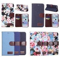 Retro Peony Flower Flip Wallet Stand Leather Skin Case Cover For Various Phones