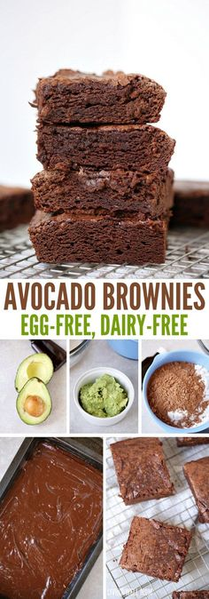 Super-Moist Avocado Brownies are mouthwateringly delicious and so easy to make! Kids love this egg-free brownie recipe too; your whole family will enjoy this chocolate dessert. dessert Guilt-Free Avocado Brownies with No Eggs Healthy Chocolate Desserts, Kid Desserts, Vegan Desserts, Chocolate Recipes, Baking Desserts, Delicious Chocolate, Guilt Free Desserts, Baking Chocolate, Healthy Cookies