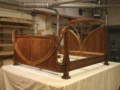Art Nouveau bed in French walnut by Agrell Architectural Carving
