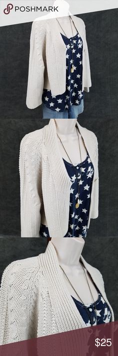 CAbi single button crop cardigan Cabi Embrace cardigan: three quarter sleeve boxy crop cardigan in oatmeal / off white, featuring a single button closure.  Style 918.    Bust 23 / length 19 inches.  60% cotton, 40% acrylic. CAbi Sweaters Cardigans