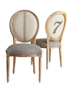 number 7 on french chairs with ticking, number stencil and grain sack stripe