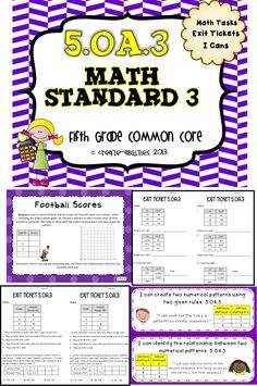 5th grade OA.3 Patterns and Graphing Math tasks, exit tickets, I cans  #commoncore #mathtasks #exittickets #mathcenters