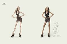 Disturbing Anorexia-Fighting Ads Compare Skinny Models To Sketches - DesignTAXI.com