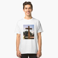 'Water from the Cross' Classic T-Shirt by LeonKramer My T Shirt, Fabric Weights, Heather Grey, Classic T Shirts, Shirt Designs, Denim, Printed, Awesome, Water