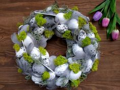 Items similar to Gray Easter wreath with easter eggs, decorative natural feather wreath, front door wreath, elegant easter decor in living room on Etsy Easter Table, Easter Eggs, Feather Wreath, Wreaths For Front Door, Door Wreath, Easter Crafts, Easter Decor, Easter Holidays, Easter Wreaths