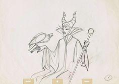 Walt Disney Sketches - Diablo & Maleficent - Walt Disney ...