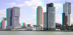 Kop van Zuid Rotterdam in anaglyph  red/cyan