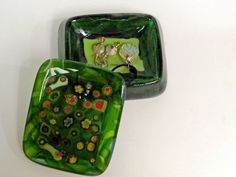 """springtime"" glass box made of fused art glass, with some ViaFlavia jewelry.  R$555"
