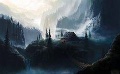 Wallpaper mit einem felsigen, gebirgigen erstaunliche Reihe von spannenden voller steilen Klippen