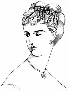 Victorian women would wear there hair in a curly up-do. Since Lady Bracknell is an older lady, she would have grey hair. Usually, Lady Bracknell would wear a fancy hat everywhere, so the flower ornaments would not be as necessary.