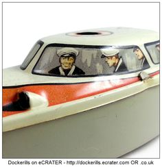 Police Launch MS 709, MICHAEL SEIDEL, West Germany (Picture 2 of 2). Vintage Tin Litho Tin Plate Toy. Wind-Up Mechanism.