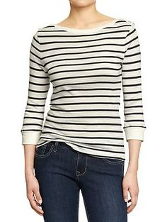 Womens 3/4-Sleeve Boat-Neck Tops - material: opaque weight: light