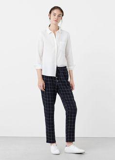 Side slit cotton shirt   MANGO