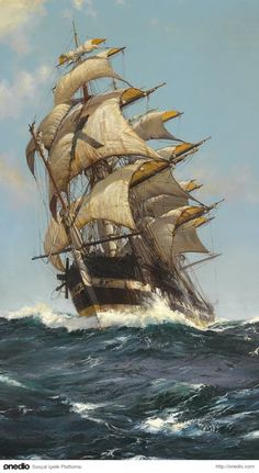 Montague Dawson - The Crest of a Wave Oil on canvas 36 x 24 inches Signed Provenance Private collection Rehs Galleries, Inc., New York City, 2011 Private collection, 2011 Tall Ships, Montague Dawson, Bateau Pirate, Old Sailing Ships, Ship Paintings, Nautical Art, Ship Art, Water Crafts, Oil On Canvas