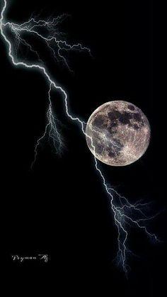 Lightning during a full moon