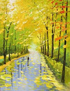 Stretched hand embellished textured PRINT on Canvas of Original Landscape Painting By Marchella Park Trees Alley Yellow Green Sunny Fall