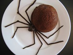 Creepy crawly spider cakes with Pocky candy for legs.
