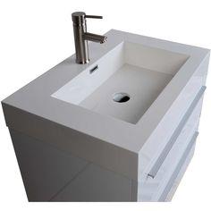 "26.75"" Single Bathroom Vanity Set in High Gloss White (Free shipping)"