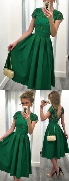 Short Pleated Green Jewel Cap Party Dress, Fashion Sleeves Prom Dress With Beading Lace on Luulla Prom Dresses For Teens, Prom Dresses With Sleeves, Homecoming Dresses, Party Gowns, Party Dress, Beaded Lace, Green Dress, Lace Dress, Dress Fashion