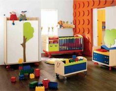 Lego Kids Bedroom Decor - Love the Orange Lego Wall