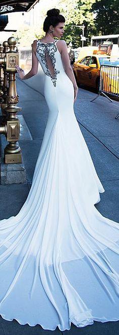 Fascinating Chiffon Jewel Neckline Mermaid Wedding Dress With Beadings & Belt