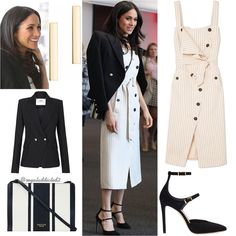 Meghan Markle Style! Dress: Altuzarra (£1,450); Jacket: Camilla and Marc ($699); Shoes: Tamara Mellon ($475); Bag: Oroton ($245); Jewels: Maison Birks earrings ($375) . Do you like her outfit?