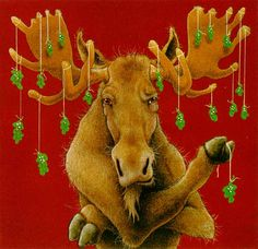 Will Bullas - Moosletoe - Search Gallery One for Bullas limited edition prints, giclee canvases and original paintings by internationally-known artists Boxed Christmas Cards, Christmas Moose, Christmas Animals, Christmas Pictures, Christmas Blocks, Dark Christmas, Christmas Stuff, Christmas Decor, Moose Decor