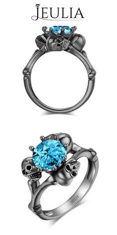 Round Cut Aquamarine Rhodium Plated Sterling Silver Three-Skull Design Skull Ring #jeulia