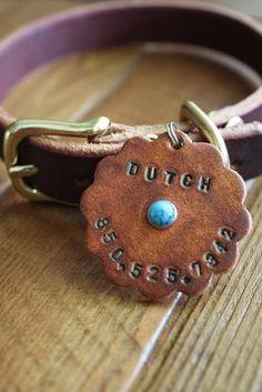 Large Leather Dog ID Tag by HugAPugStudios on Etsy, $15.00