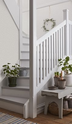 Beautiful Traditions - 6712 - Beach house - Elsa,Scandinavian design wallpaper Berså from collection by Borastapeter and Eco Wallpaper - Painted Staircases, Painted Stairs, White Staircase, Staircase Design, Staircase Makeover, Hallway Designs, Interior Stairs, House Stairs, Stairways