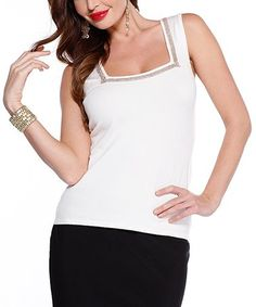 Look what I found on #zulily! Ivory & Silver Square Neck Top #zulilyfinds