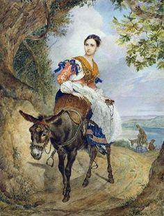 БРЮЛЛОВ КАРЛ ПАВЛОВИЧ(1799-1852).Портрет графини О.П. Ферзен на ослике
