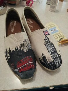 London Skyline, hand-painted Toms Shoes. @Sharon Macdonald Macdonald Macdonald Henderson May