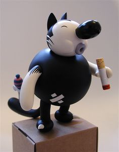 Smoking Cat - Designed by cartoonist Kaz for critterbox, 2005.