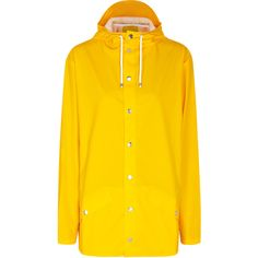 Rains Yellow Rubberised Raincoat - Size XS/S ($105) ❤ liked on Polyvore featuring outerwear, coats, water resistant coat, rains raincoat, rains coat, yellow coat and yellow raincoat