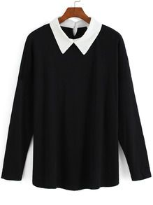 Black Contrast Lapel Long Sleeve Blouse