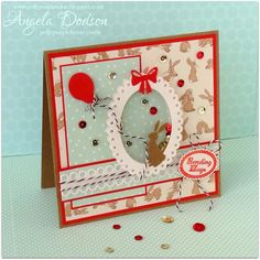 Belle & Boo 'Sending Hugs' shaker card designed & handmade by Angela Dodson fro Trimcraft using the Belle & Boo collection - more details here: http://www.trimcraft.co.uk/projects/117385/belle-boo-sending-hugs-shaker-card