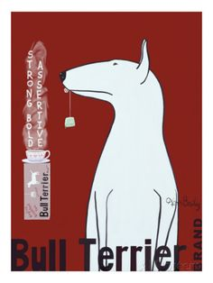 Bull Terrier Tea Giclee Print by Ken Bailey at AllPosters.com