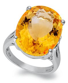 Sterling Silver Ring, Citrine Oval Ring (14-9/10 ct. t.w.)