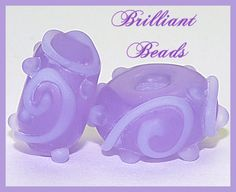 Etched Violet Scrollwork Glass Beads Handmade by Gillianbeads, $4.50