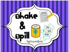 Sight Word Game: Shake and Spill. Would be fun to do with the sight word cards I already have.