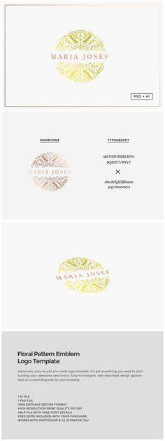 Floral Pattern Emblem Logo by The Design Label on @creativemarket